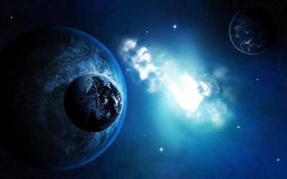 красивые, cosmos, планеты, art, спутники, виде,