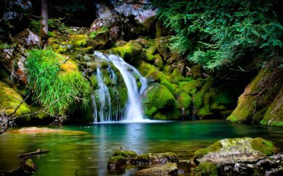 природа, супер, камни, зелёный, картинка, водапад, водопады, природы,