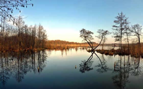 небо, отражение, trees, озеро, чернокнижие, wide,