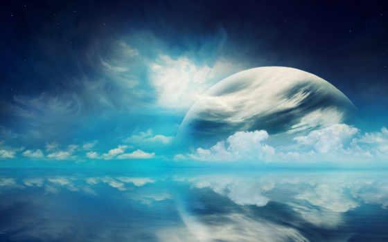 planet, облако, cosmos, land, звезды