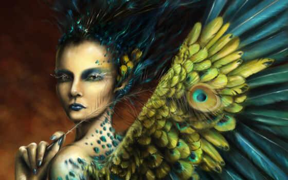 девушка, перья