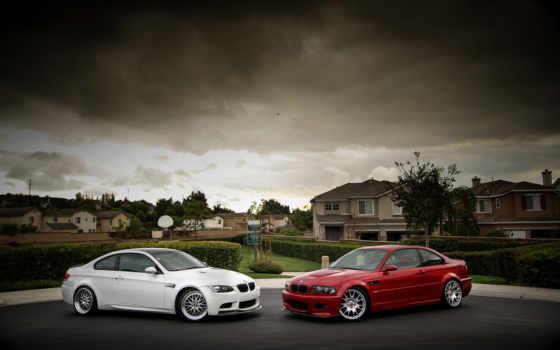 БМВ, красный и белый