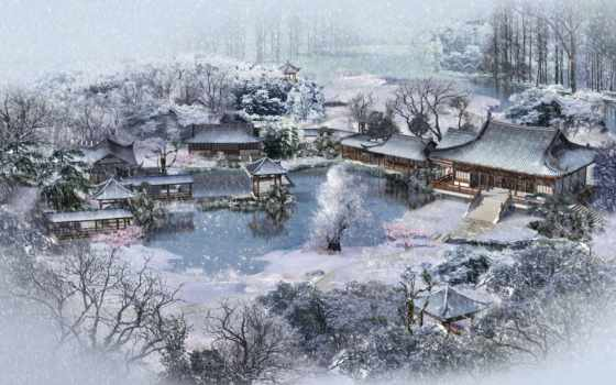 winter, зимы, пруд