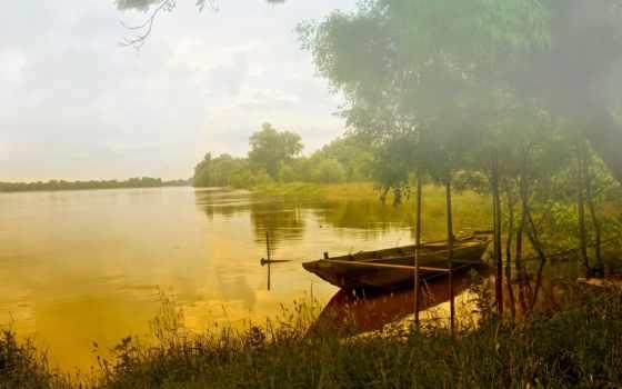 озеро, камыш, закат