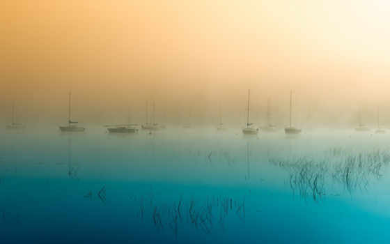 природа, туман,море,яхта,вода,