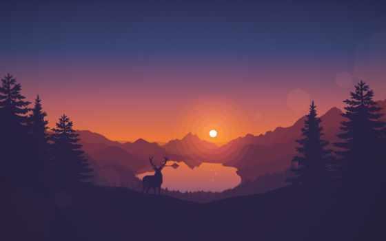 горы, минималистичные, закате, минимализм,й красивые,