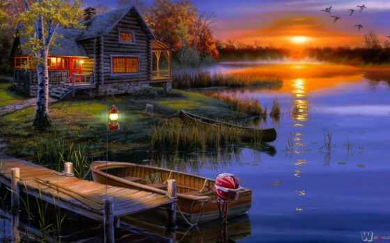 landscape, озеро, лодка, lodge, осень, дома, lantern, art, bush, darrell, природа,