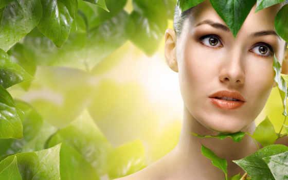 девушка, листва, лицо, devushki, листьями, зелёными, зелёный, листьев, осень, листьях, fone,