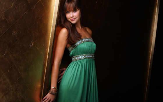 платье, девушка, özel, зеленом, волосы, devushki,
