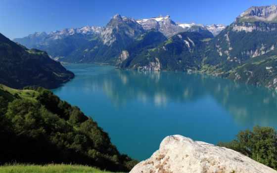 suisse, paysage, morschach, montagnes, природа, lac, fonds, ecran, sur, des,