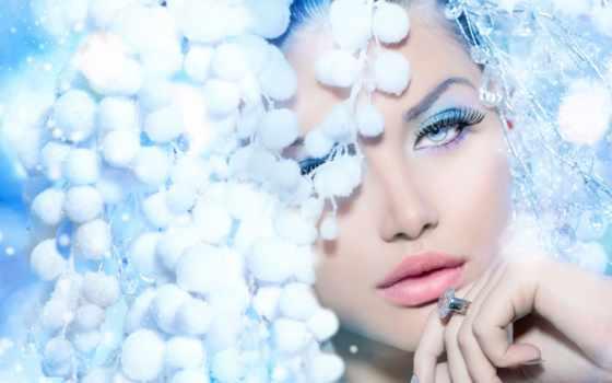 девушка, волосами, красавица, devushki, волосы, белыми, зимняя, стоковое, art, модель, queen,
