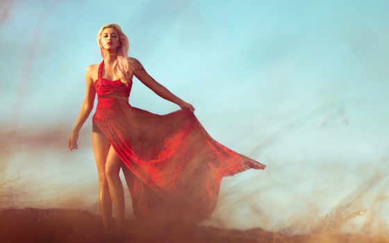платье, девушка, красном