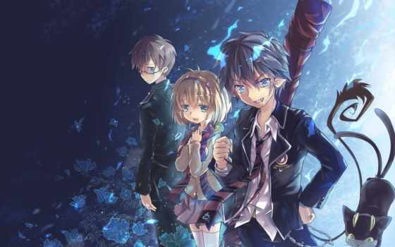 exorcist, anime, аоь, blue, rin, окумура, art,