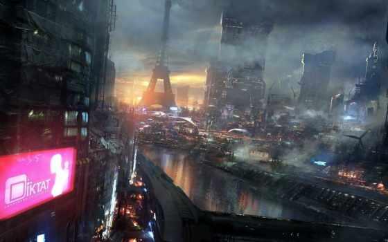 art, город, будущее, фантастика, ночь, будущего,