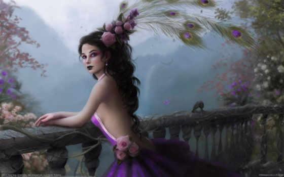 девушка, tanya, арт, цветы, розы, varga, перья, балкон, перила, павлина, платье, fantasy, картинка,