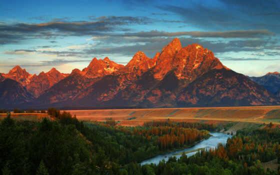 река, лес, горы, осень, америка, вайоминг,