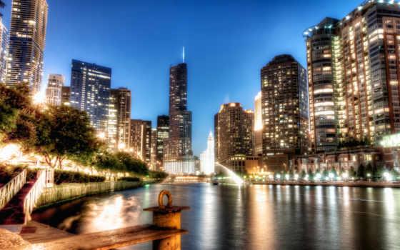 chicago, hdr, noche