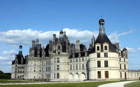 chambord, castle, château, небо, трава,