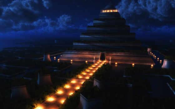 пирамида, ночь, храм, ночью,