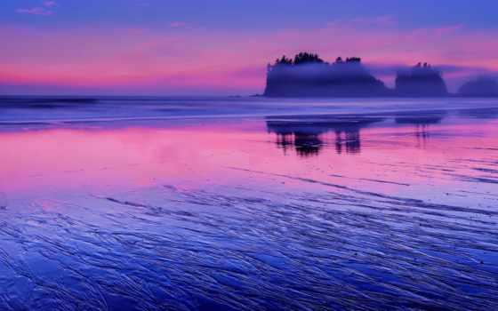 сша, ocean, тихий, washington, state, розовый, небо, sunsets,