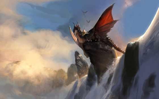 дракон, art, драконы, rock, бесплатные, водопад, fantasy, драконами, страница,