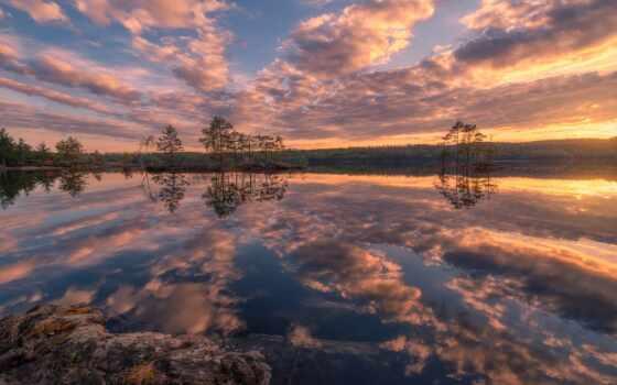 небо, озеро, природа, water, отражение, закат, картинка