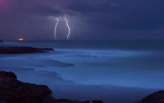 молнии, синева, элемент, море, pictures, буря, pin,