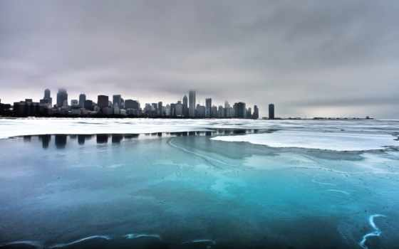 города, chicago, water, legenda, фотообои, город, лед, озере, стену,