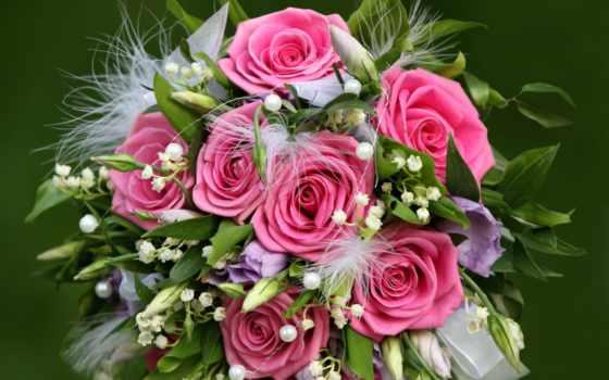 cvety, розы, розовые, красивые, цветы, букет, нежные,