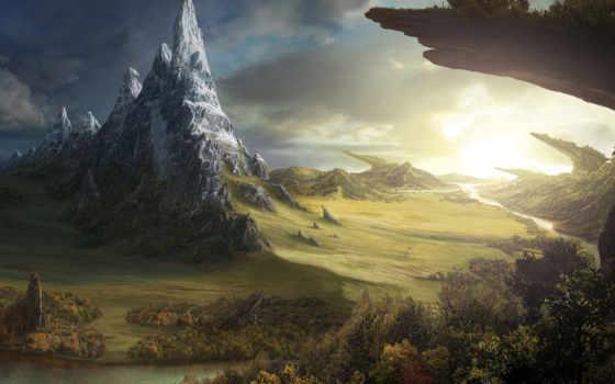 фэнтези, река, скалы, world, поле, лес, fantasy, природа, неизвестной,