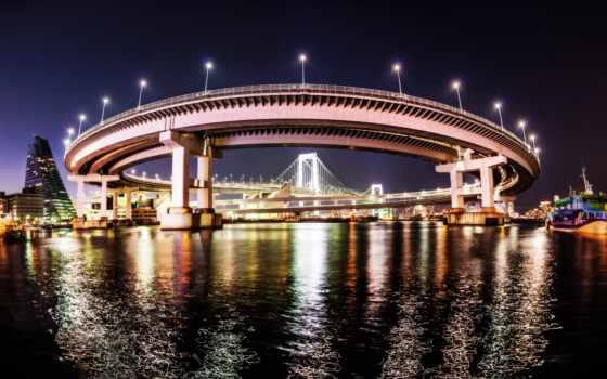 tokyo, мост, радуга, япония,