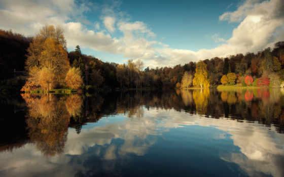 осень, природа, озеро Фон № 101417 разрешение 2048x1365