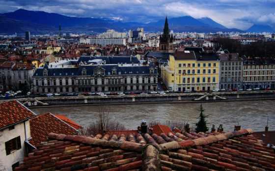гренобль, франции, дома, река, world, крыша, франция,