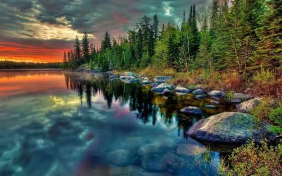 озеро, лес, закат Фон № 135122 разрешение 1920x1080
