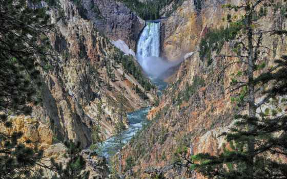 yellowstone, park, national, falls, красоты, горные, lower, каньон, waterfalls,