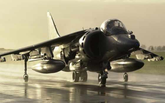 истребитель, военный, полосе, взлетной, большой, самолёт, приземлился, красивые,