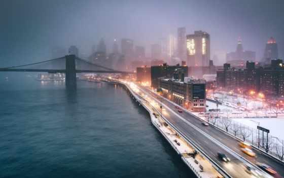 new york, мост, набережная