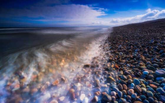 камень, пляж, море, шотландия, облако, rock, exposure, long, небо, берег