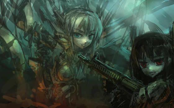аниме, киберпанк, девочки, оружие, anime, art, обо