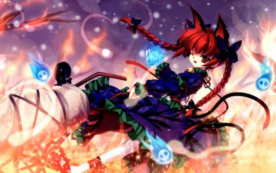 touhou, kaenbyou, rin, capura, eternal, lin, red, version, larger, anime, phantasia, girl, konachan, neko, cached, hair,