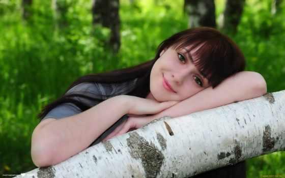 улыбка, девушка, береза, devushki,