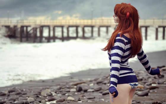 рыжая, пляж, море, рыжеволосая, pier, девушка, babe, девущка,