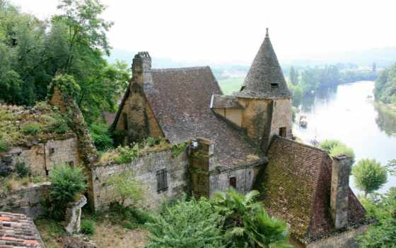 замки, french, франции, замка, картинка, города, разруха, зелёный, река,