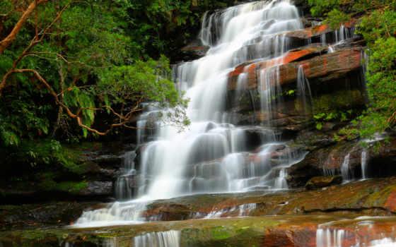 водопад, природа, trees, река, лес, камни, water, brisbane, national,