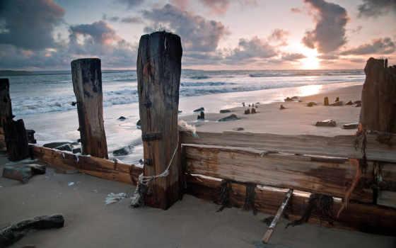 landscape, берег, небо, waves, побережье, камни, природа, закат, wood,