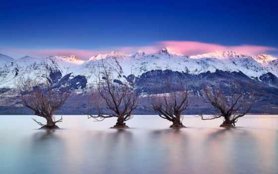 zealand, новая, winter, озеро, ivy, водяные, гленорчи, со, горы, trees,