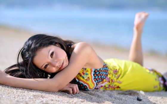 натали, девушка, love, gioia, платье, море, лежит, asian, babes,
