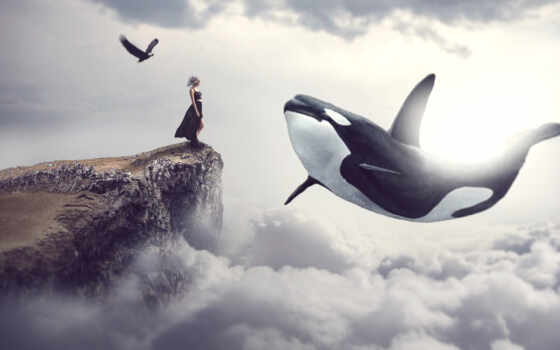 кит, облако, watch, креатив, dream, прыжок, женщина, ago, ocean, небо, animal