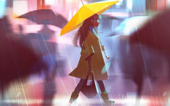 дженни, улица, девушка, зонтик, yellow, human, город