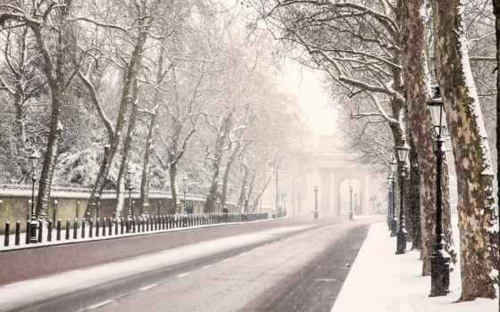 london, winter, дорога